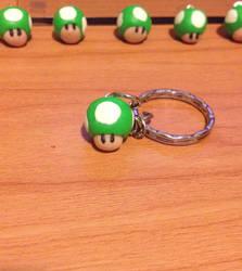 Mario 1up Mushroom keychain by MiniMushies