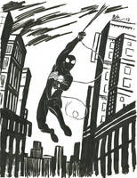 Black suit Spider-Man swinging by CagsCreations