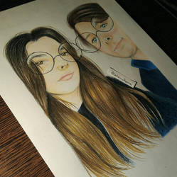 Haleigh Hekking and Chandler Riggs drawing by UchihaAkanee