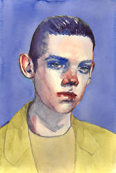 androgynous watercolour portrait by Neivan-IV
