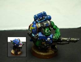 Ork with looted lascannon 1 by Snowfyre