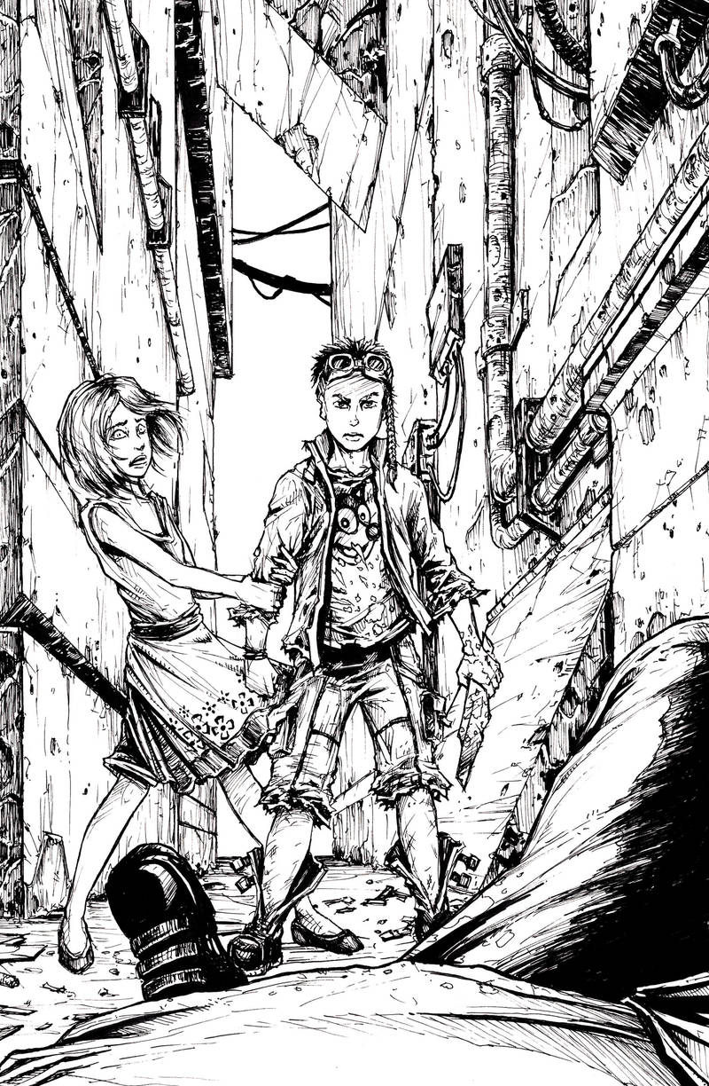 The children of the Neopolis - cover (inked) by BloodlustComics