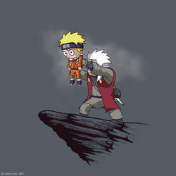 Jiraiya holding up Naruto by SeanDrawn