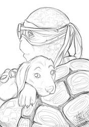 Donnie and Puppy sketch by clefchan