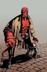 Hellboy guardian angel by clefchan