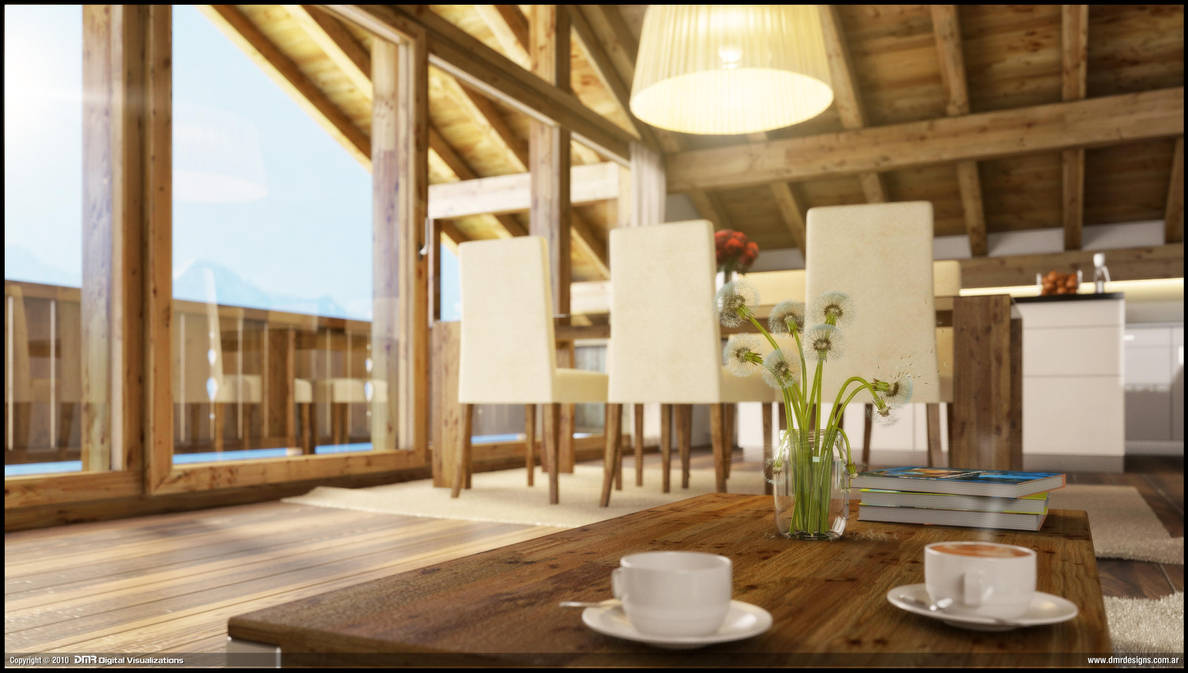 Wood House Interior Close up by diegoreales