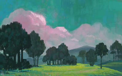 Landscape Painting + Process Video by YogFingers