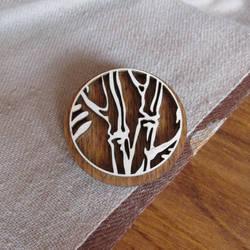Wooden pin badge or pinback button Bamboo by v-vasilinka