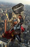 Lady Thor WIP by uncannyknack