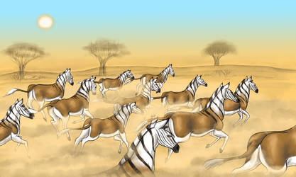 Quagga Herd by Louisetheanimator