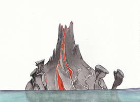 Volcano at Sea by Louisetheanimator