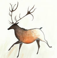 Caribou Cave Painting by Louisetheanimator