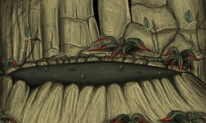 Tar Pit Below Cliff by Louisetheanimator