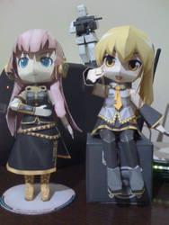Luka and Akita Neru from Vocaloid papercraft by RoronoaZoro666