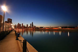 Chicago Night Skyline by woodsj6
