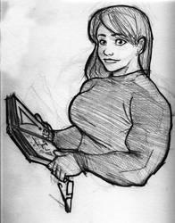 Caitlin Reads a Book by Fettcom