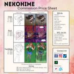 Commission Sheet 2018 + Moving news!! by NekohimeKagepuma