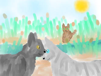 Graystripe and Silverstream - By The River by FirestarRules123