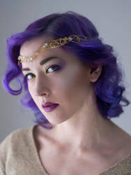 Hecate Golden brass circlet with champagne color by MoonDomeUk