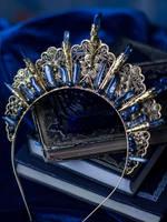 Serafina Statement golden crystal crown by MoonDomeUk