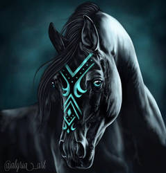 Black Horse Portrait by alyriaart