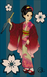 Gion of Old -  wood block ver. by Transformergirl