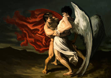The fight of Hannibal and the Angel by Aquila--Audax