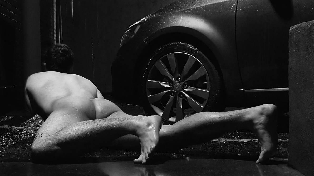 Nude in the parking lot by MatthewsNakedArt