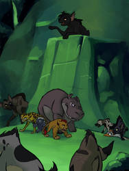 a pack of hyenas vs the lion guard by YokuImmobylen
