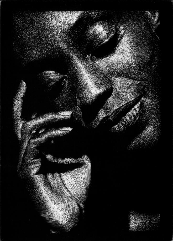 scratchboard woman by shorty1013