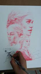 Daenerys Targaryen Pen WIP by ChrisHerreraArt