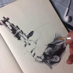 Tattooing Hand WIP by ChrisHerreraArt