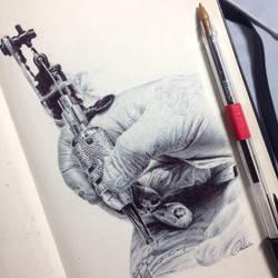 Tattooing Hand by ChrisHerreraArt