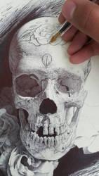 Sugar Skull WIP by ChrisHerreraArt