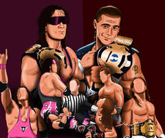 Bret Hart vs Shawn Michaels Painting by AllenThomasArtist