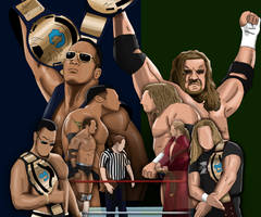 WWE Rivalries The Rock vs Triple H Painting by AllenThomasArtist