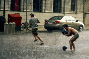 Almost naked man holding his balls by powerswithin
