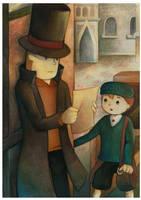 Professor Layton and Luke by EternaLegend