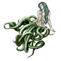 Girl with tentacles color2 by Scribbletati