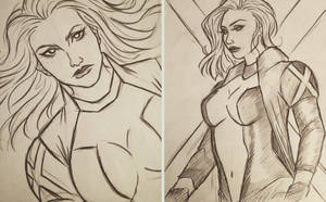 Emma Frost sketches by 7Lisa