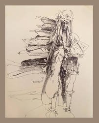 Early Days Drawing Indian ca1980 by richardcgreen
