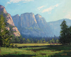 Yosmite Landscape Painting by artsaus