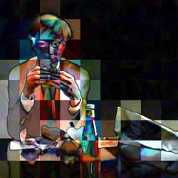 Andy Warhol eating a hamburger by willb