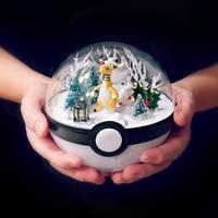 Mega Ampharose Christmas - Poke Ball Terrarium by TheVintageRealm
