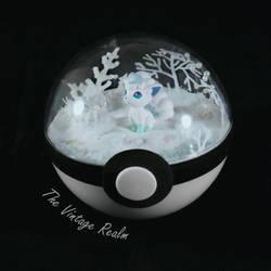 Poke Ball Terrarium - Alolan Vulpix Winter by TheVintageRealm