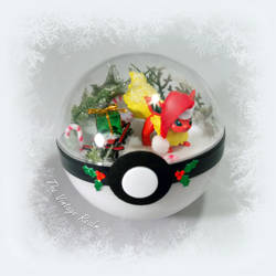 Poke Ball Terrarium - Winter wonderland Flareon by TheVintageRealm