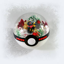 Poke Ball Terrarium - Winter Wonderland Umbreon by TheVintageRealm