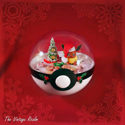 Poke Ball Terrarium - Chritmas Kitchen Eevee by TheVintageRealm