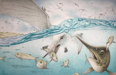 Rhamphorhynchus and Aspidorhynchus by RavePaleoArt