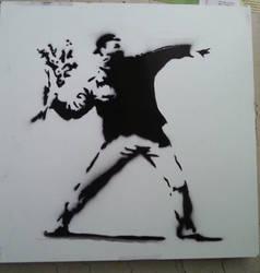 Banksy's Flower Thrower by ModokSprayArt